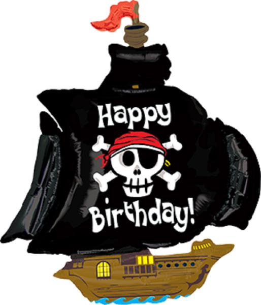 Pirate Ship Happy Birthday Piratenschiff Folienballon - 117cm 46''