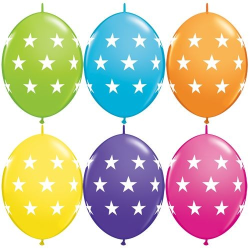 "Qualatex QuickLink Big Stars Tropical Sortiment 30cm 12"" Latex Luftballons"