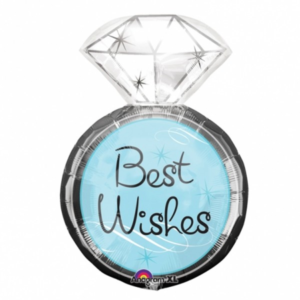 Best Wishes Diamand Ring Folienballon - 68cm