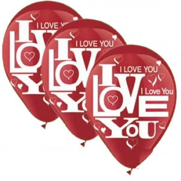 "I love you in rot 27,5cm 11"" Latex Luftballons Qualatex"