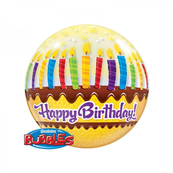 Qualatex Single Bubble Luftballons Geburtstagskuchen und Kerzen - 61cm