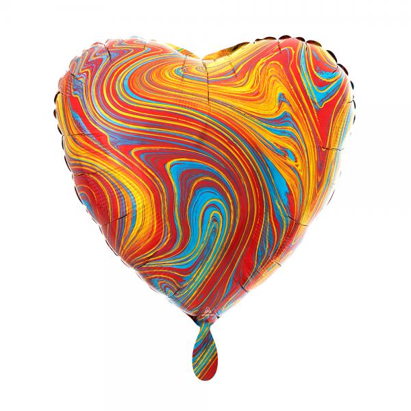 Herz marmoriert Marblez colorful Folienballon - 43cm 17''