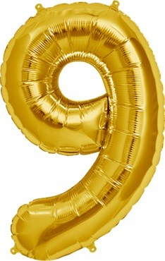 North Star Folienballon Zahl 9 (gold) - 86cm