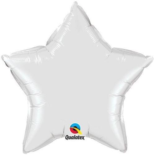 Stern weiss Folienballon - 50cm - Qualatex