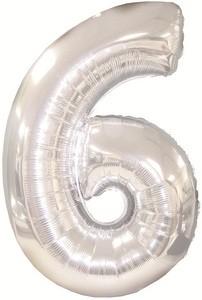 Folienballon Zahl 6 (silber) - 76,2 x 119,38 cm