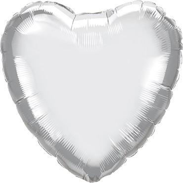 Folienballon Herz Chrome Silver (Silber) - 45 cm