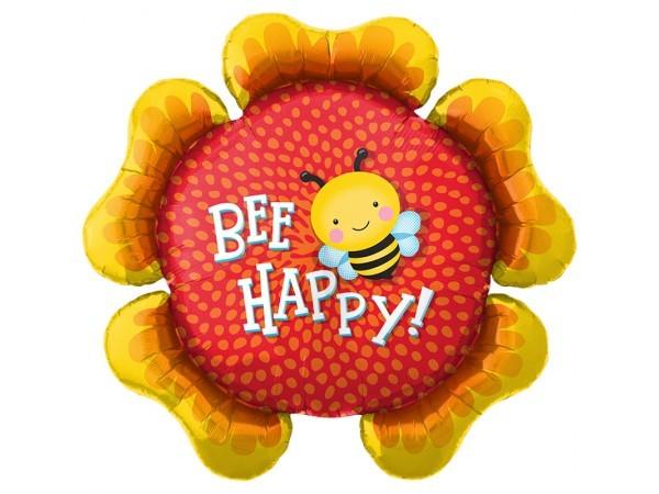Blume mit Biene 'bee happy' Folienballon - 86cm