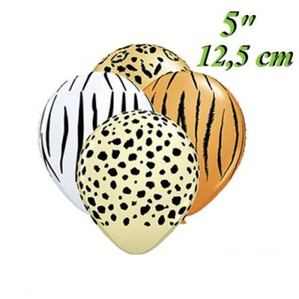"Wild Animals Safari Mischung 12,5cm 5"" Latex Luftballons Qualatex"