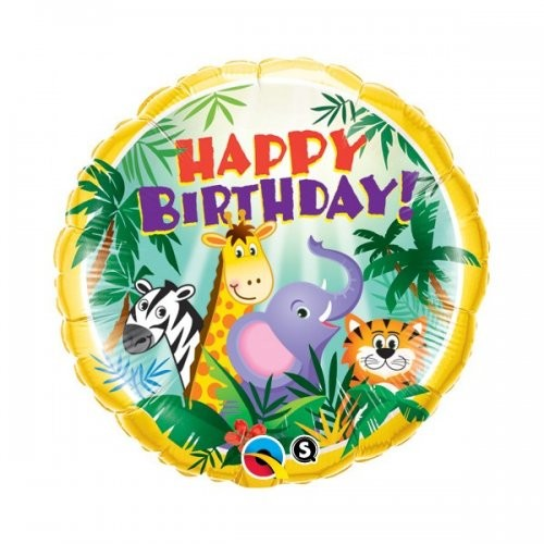 Happy Birthday Dschungel Folienballon - 45cm