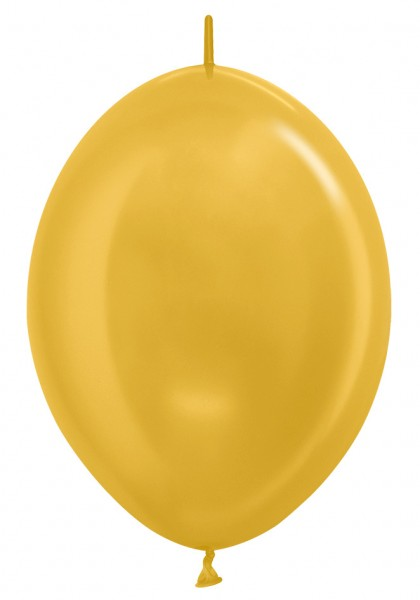 "Link o Loon 570 Metallic Gold 30cm 12"" Latex Luftballons Sempertex"