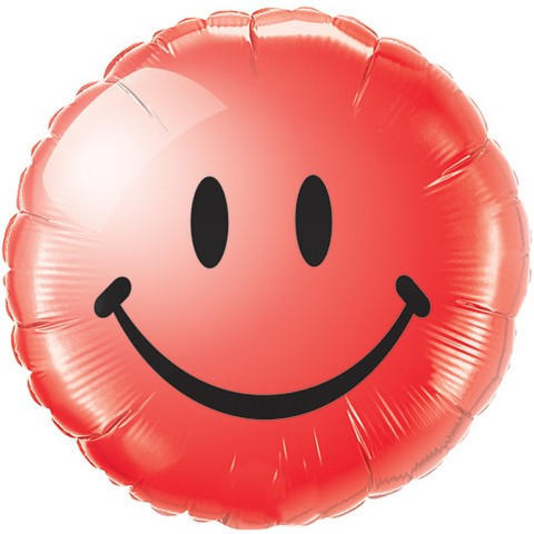 Smiley face rot Folienballon - 45cm
