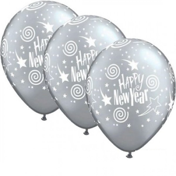 Happy New Year silber Qualatex Latexballon - 27,5cm