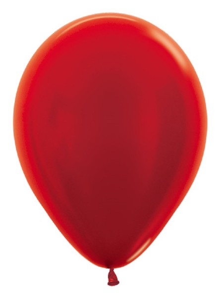 "Sempertex 515 Metallic Red (Rot) 30cm 12"" Latex Luftballons"