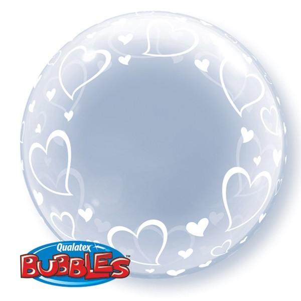 """Qualatex Deco Bubble Stylish Hearts 24"""" 61cm Luftballon"""