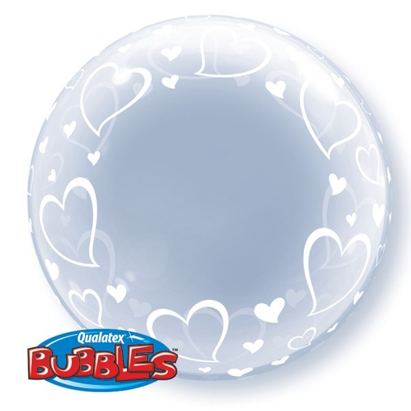 "Qualatex Deco Bubble Stylish Hearts 24"" 61cm Luftballon"