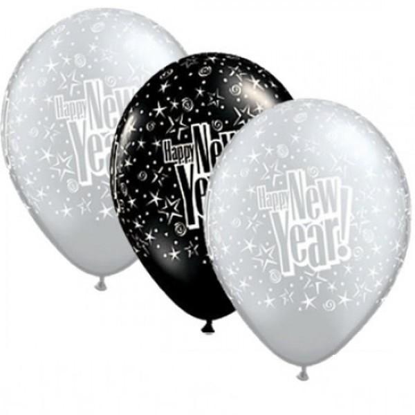 (10 Stk) Happy New Year Starblast Luftballon - 27,5cm