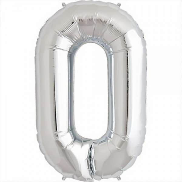 North Star Folienballon Zahl 0 (silber) - 86cm