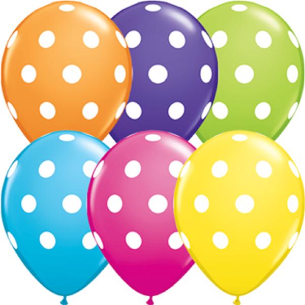 "Big Polka Dots Tropical Sortiment 12,5 cm 5"" Latex Luftballons Qualatex"