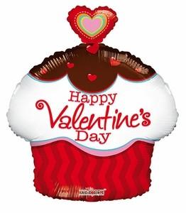 Happy Valentine`s Day Cupcake Folienballon