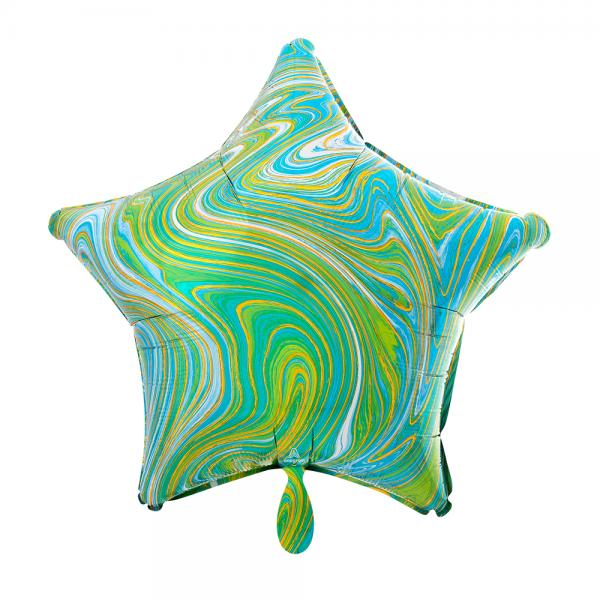 Stern marmoriert Marblez Blue Green Folienballon - 43cm 17''