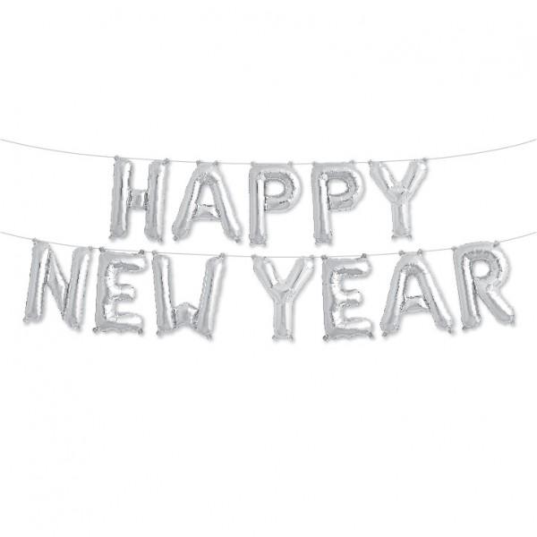 Buchstaben Folienballon Set silber HAPPY NEW YEAR 40cm