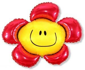 Mini Folienballon Blumen mit Gesicht rot - 35cm