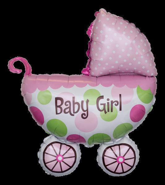 Kinderwagen Baby Buggy Girl rosa Folienballon - 79cm