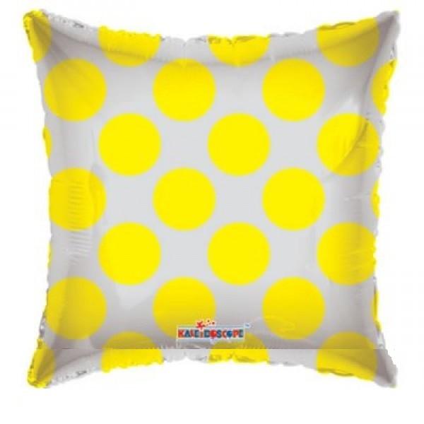 durchsichtiger Folienballon mit gelben Punkten - 45cm