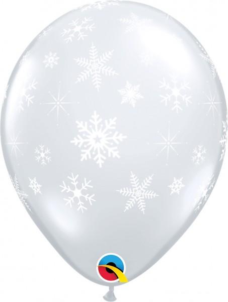 "Snowflakes & Sparkles Diamond Clear Schneeflocken 27,5cm 11"" Latex Luftballons Qualatex"