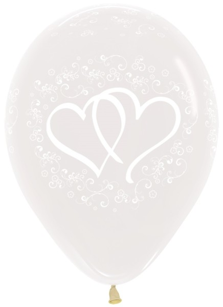 "Entwinted Hearts Crystal Clear 30cm 12"" Latex Luftballons Sempertex"