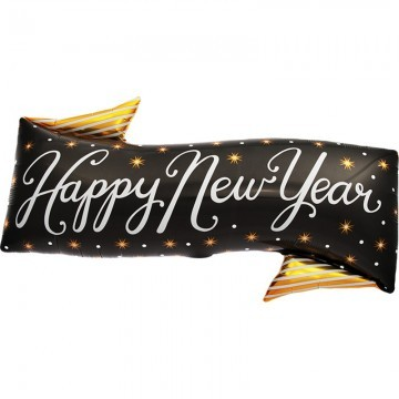 Silvester Folienballon Happy New Year Banner