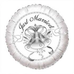 Just married mit Glocken Folienballon - 45cm