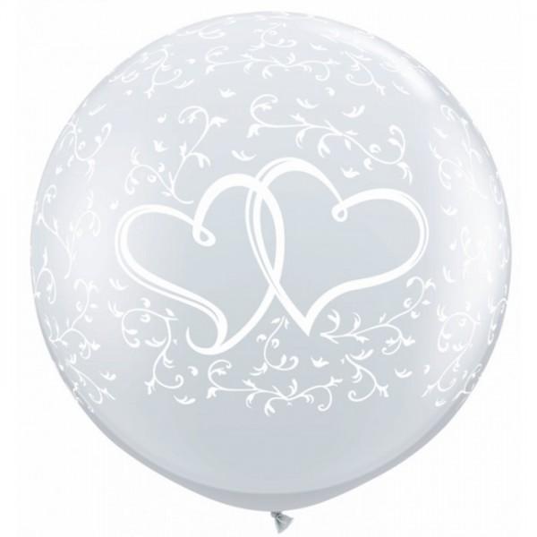 "Verschlungene Herzen Hochzeit Diamond Clear 90cm 36"" Latex Riesenluftballon Qualatex"