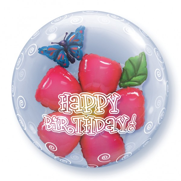 Qualatex Double Bubble Blume Happy Birthday Luftballons