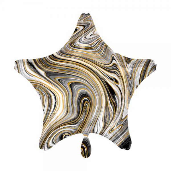 Stern marmoriert Marblez Black Folienballon - 43cm 17''