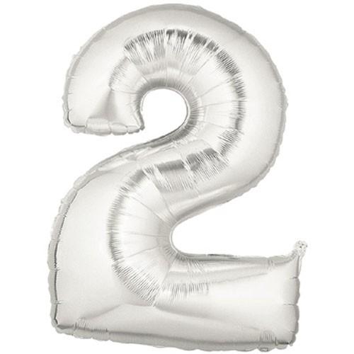 Große Folienballon Zahl 2 (silber)
