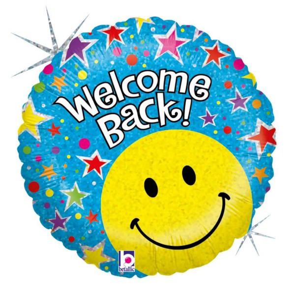 Welcome Back Smiley Folienballon - 45cm