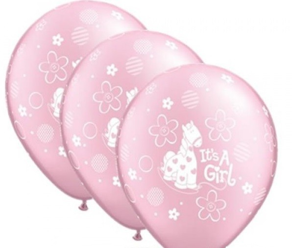 "Baby It's a Girl 27,5 cm 11"" Latex Luftballons Qualatex"