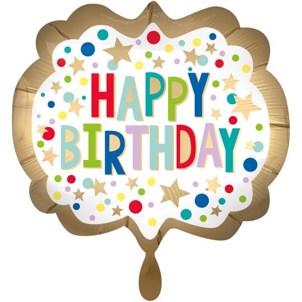 Happy Birthday Gold Satin Marquee Dots Folienballon - 63cm 25''