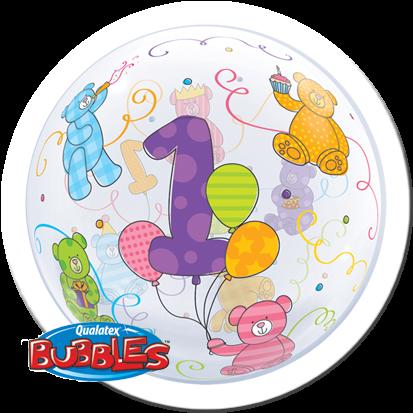 "Qualatex Bubble Age 1 Teddybär 22"" 56cm Luftballon"
