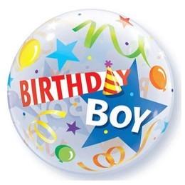 Qualatex Single Bubble Luftballons Birthday Boy Hut - 61cm