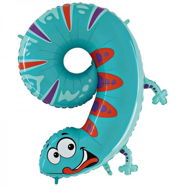 Tierische Zahlen 9 Gecko Folienballon