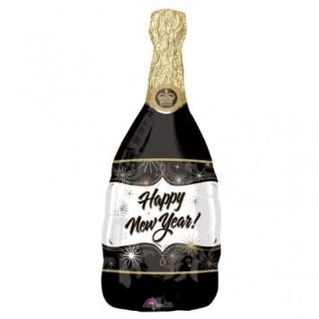 Mini Folienballon Sektflasche Happy New Year - 35cm