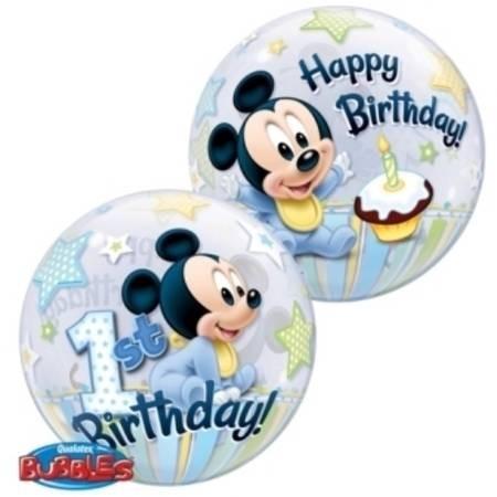 "Qualatex Bubble Micky Maus 1 Geburtstag 22"" 56cm Luftballon"