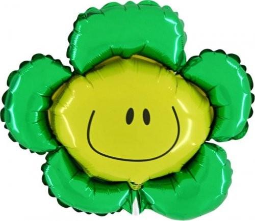 Blumen Smiley Flower grün Folienballon - 104cm