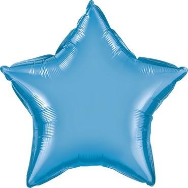 Folienballon Stern Chrome Blue (blau) - 50 cm