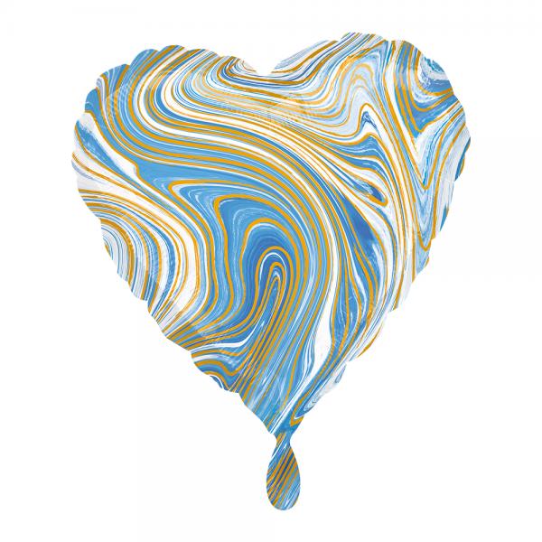 Herz marmoriert Marblez Blue Folienballon - 43cm 17''