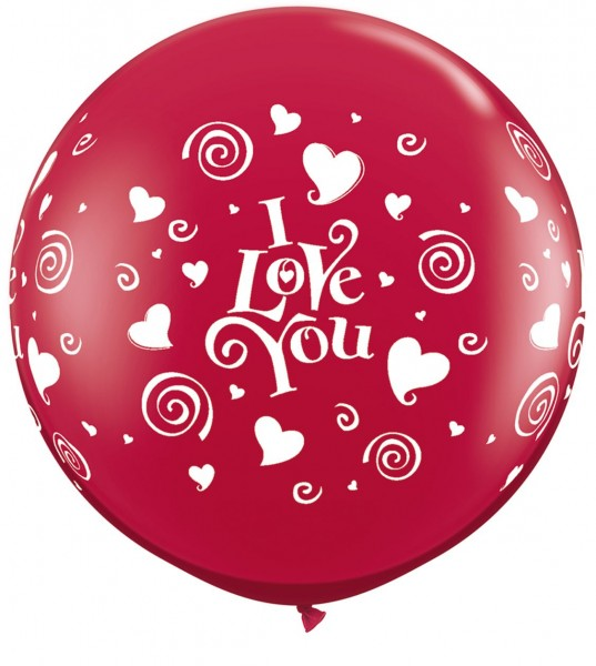 """I love you Herzen und swirls 90cm 36"""" Latex Riesenluftballons Qualatex"""