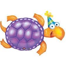 Schildkröte mit Geburtstags Hut Folienballon - 90cm