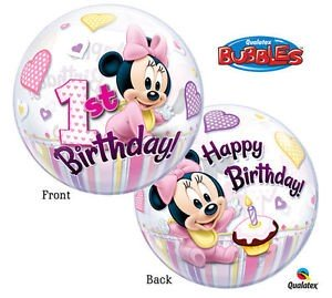 "Qualatex Bubbles Minnie Maus 1 Geburtstag 22"" 56cm Luftballon"